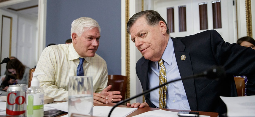 Representatives Pete Sessions (left) and Tom Cole lead the House committee eyeing a return of earmarks.