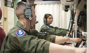 First Lt. Pamela Blanco-Coca and 2nd Lt. John Anderson simulate key turns of the Minuteman III ICBM in a Launch Control Center on the F.E. Warren Air Force Base Missile Complex in Wyoming.