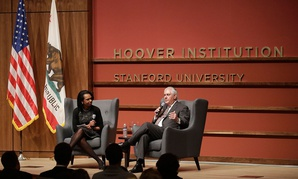 Secretary of State Rex Tillerson and former Secretary of State Condoleeza Rice speak to the Hoover Institution at Stanford University on Wednesday, Janurary 17.