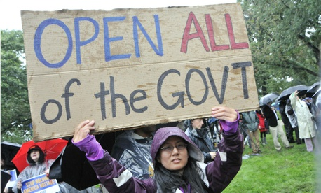 Federal workers protest the government shutdown in October 2013.