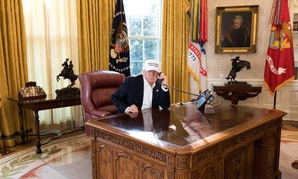 Trump works in the Oval Office during the shutdown.