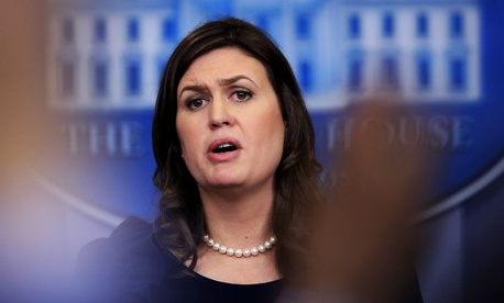 White House Press Secretary Sarah Sanders speaks to reporters Monday.
