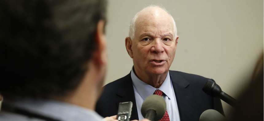 Sen. Ben Cardin, D-Md., speaks to the media after attending a meeting with a bipartisan group of senators on Monday, Jan. 22, on day three of the government shutdown.