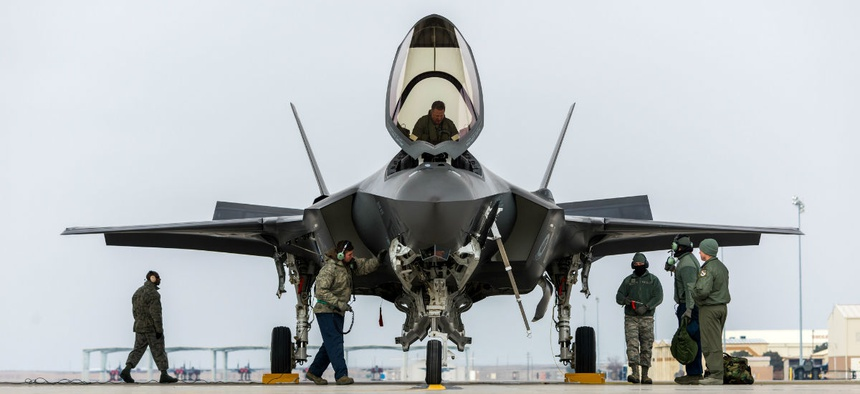 An F-35A team at Mountain Home Air Force Base, Idaho, conduct operational testing in February 2016.