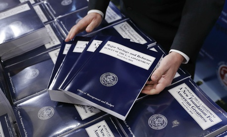 Copies of Trump's fiscal 2018 budget request await distribution to congressional staffers.