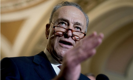 Senate Minority Leader Chuck Schumer, D-N.Y., speaks to reporters after a policy luncheon on Tuesday.