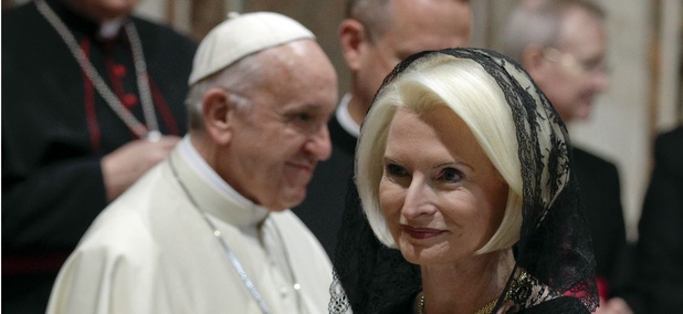 U.S. Ambassador to the Holy See Callista Gingrich walks past Pope Francis during an audience on Jan. 8. Trump is behind Obama in filling overseas posts.