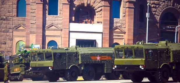 Missile launchers are shown before a Red Square military parade in 2016.