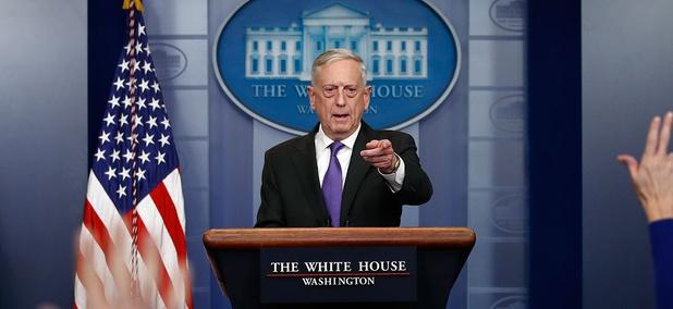 Jim Mattis briefs reporters on Wednesday.