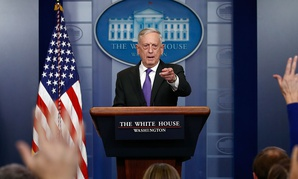 Jim Mattis briefs reporters on Wednesday.