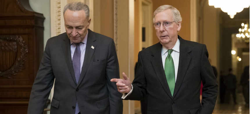 Senate Minority Leader Chuck Schumer (left) and Majority Leader Mitch McConnell announced a spending deal earlier this week.