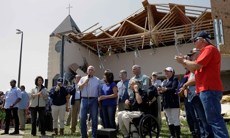 Vice President Mike Pence speaks before First Baptist Rockport Church in Texas, which was affected by Hurricane Harvey.
