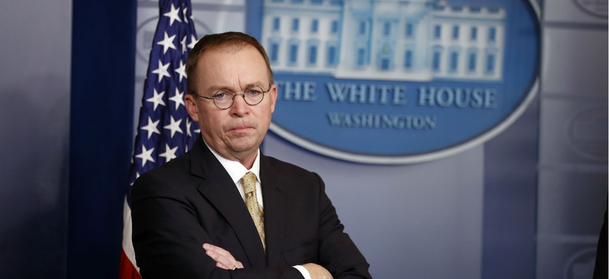 Director of the Office of Management and Budget Mick Mulvaney at a press briefing at the White House on Jan. 20.