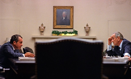 Lyndon Johnson meets with candidate Richard Nixon at the White House, July 26, 1968