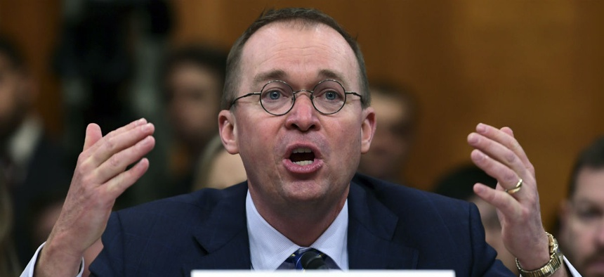 OMB Director Mick Mulvaney testifies on Capitol Hill Tuesday about the Trump administration's budget request.