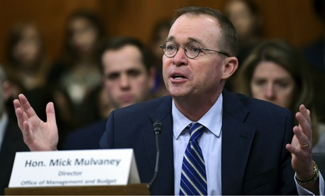 OMB Director Mick Mulvaney testifies on Capitol Hill last week on the Trump administration's budget request.