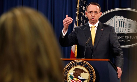 Deputy Attorney General Rod Rosenstein answers a question after announcing that the office of special counsel Robert Mueller announced a grand jury has charged 13 Russian nationals and several Russian entities on Feb. 16.