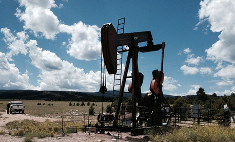 A pump jack in the Bureau of Land Management's Rawlins Field Office area of Wyoming.