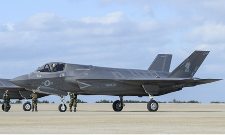 U.S. Marine Corps F-35Bs assigned to Marine Corps Air Station Iwakuni, Japan, simulate a rapid rearm and refuel in December.