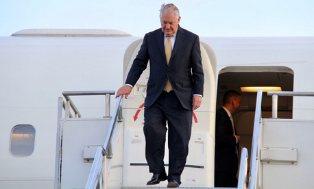 Tillerson deplanes at Bole International Airport in Addis Ababa, Ethiopia on March 7.
