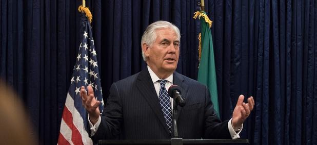 Tillerson addresses U.S. Mission Nigeria staff at a Meet and Greet at U.S. Embassy Abuja in Nigeria on March 12.
