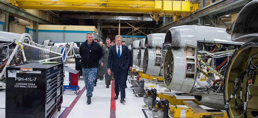 Deputy Defense Secretary Patrick Shanahan visits Naval Air Station Whidbey Island, Washington.