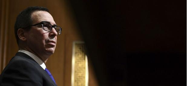 Treasury Secretary Steven Mnuchin testifies before the Senate Finance Committee on Capitol Hill on Feb. 14, 2018.