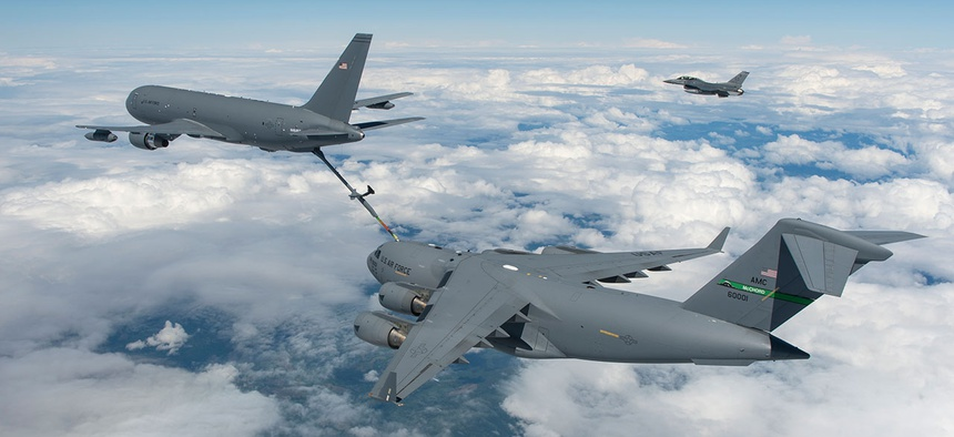 A Boeing-made KC-46 tanker refuels a C-17.