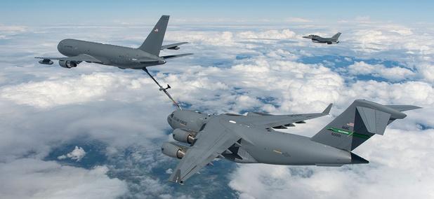 A Boeing-made KC-46 tanker refuels a C-17.