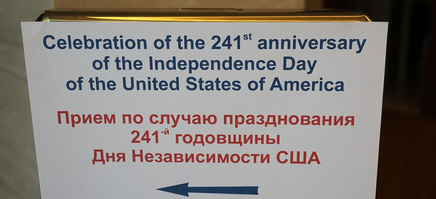 A sign directs visitors to a July 4 celebration at the U.S. Consulate Building in Vladivostok in 2017.
