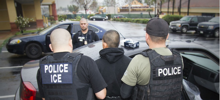 ICE agents arrest a fugitive in Los Angeles during a targeted enforcement action in Los Angeles in 2017.