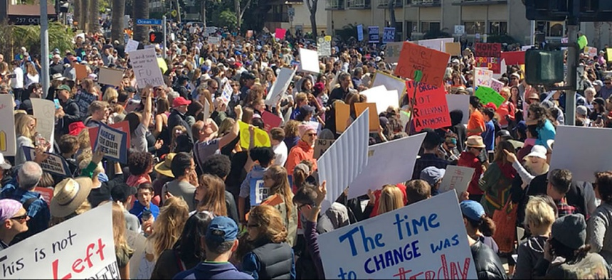 Students at the March For Our Lives protest in Santa Monica, Calif., on March 24.