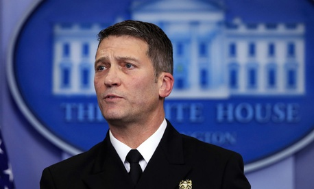 Dr. Ronny Jackson speaks to reporters in January.
