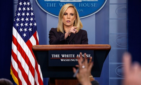 Homeland Security Secretary Kirstjen Nielsen, talks to reporters at the White House on Wednesday.