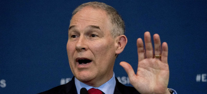 EPA Administrator Scott Pruitt speaks at a news conference Tuesday on his decision to scrap Obama era fuel standards.
