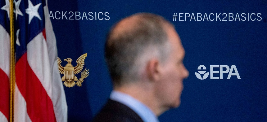 Environmental Protection Agency Administrator Scott Pruitt attends a news conference at the EPA on April 3.