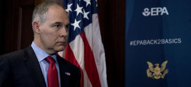 EPA Administrator Scott Pruitt speaks at a news conference on his decision to scrap Obama era fuel standards.