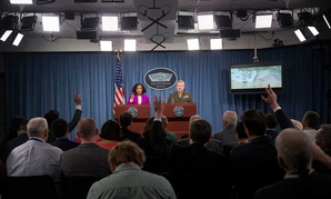 Dana White, the assistant to the secretary of defense for public affairs, and Lt. Gen. Kenneth F. McKenzie, the Joint Staff director, brief the press regarding American operations in Syria on Saturday.