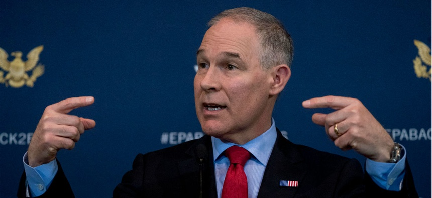 Environmental Protection Agency Administrator Scott Pruitt speaks at a news conference in April.