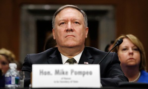 Mike Pompeo listens during his confirmation hearing with the Senate Foreign Relations Committee on April 12.