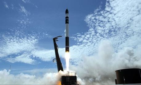 Rocket Lab's Electron rocket zooms into orbit.