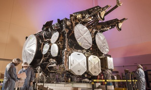 The fourth Advanced Extremely High Frequency (AEHF) satellite undergoes production at Lockheed Martin's satellite manufacturing facility in Sunnyvale, California.