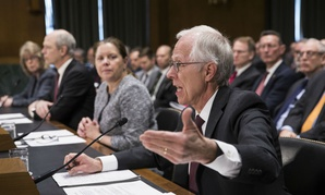 PSC President David Berteau, joined by (right to left) Raytheon VP Jane Chappell, ManTech President and CEO Kevin Phillips, and Brenda Farrell of GAO testify before the Senate Intelligence Committee in March.