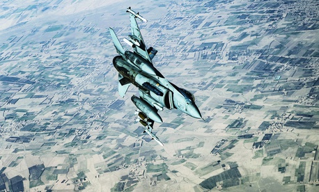 A U.S. Air Force F-16C performs an aerial patrol over an Afghan district in support of Operation Freedom's Sentinel in March.