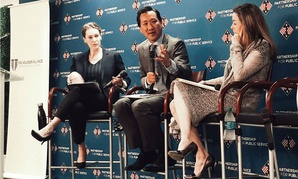 OPM Director Jeff Pon (center) speaks at a Partnership for Public Service town hall Wednesday.
