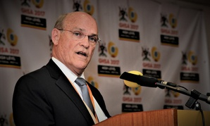 Admiral Tim Ziemer, head of U.S. delegation, gives remarks at the Global Health Security Agenda Ministerial Meeting in Kampala, Uganda in 2016.