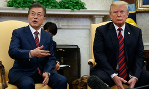 President Donald Trump meets with South Korean President Moon Jae-In in the Oval Office on Tuesday.