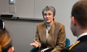 Secretary of the Air Force Heather Wilson speaks to Air Force cadets at Northeastern University in Boston April 4.