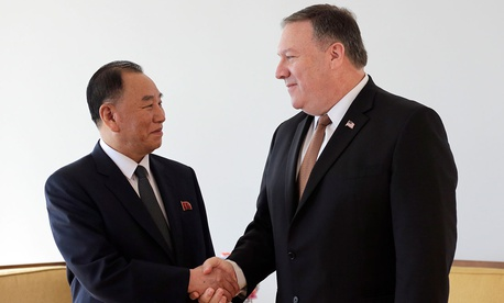 North Korean envoy Kim Yong Chol meets with U.S. Secretary of State Mike Pompeo in New York on Thursday.