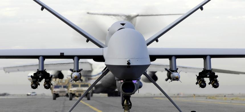 MQ-9 Reaper taxies down a runway in Afghanistan.